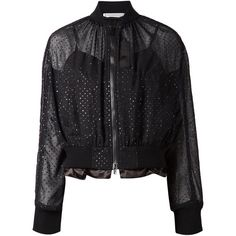 Sacai Luck Sheer Bomber Jacket ($976) ❤ liked on Polyvore featuring outerwear, jackets, black, zip front jacket, flight jackets, sacai luck jacket, sheer bomber jacket and bomber style jacket