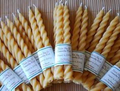 twisted and tapered beeswax candles. theses were wedding favors, best wedding favor ever if you ask me