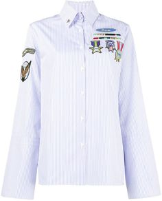Mira Mikati Pinstripe Shirt with Scout Patches