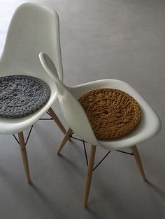 Modern crochet chair cushions/pads.