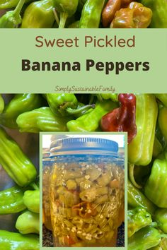 Just 4 ingredients in these delicious Sweet Pickled Banana Peppers. You can also either refrigerate them or water bath can them to make them shelf stable. #bananapeppers #preservingpeppers #canningpeppers