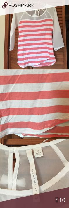 LC Conrad striped top Sheer 3/4 sleeves. Melon and white stripes. Small imperfection shown in pic 2. Price reflects other than that perfect!  Adorable bows in back LC Lauren Conrad Tops Blouses