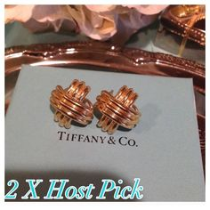 """HPVINTAGE ESTATE Tiffany & Co 18K Gold Earrings AUTHENTIC VINTAGE ...HPLARGE...RARE..Tiffany & Co 18 K Gold Signature """"X"""" Omega Earrings c. 1990 No Longer Made!  Highly sought after collectors item. Has convertible clip or can be pierced!  One owner...in excellent condition..includes Tiffany Box!  Don't let these little gems slip away! COLLECTORS ITEM!!! Tiffany & Co. Jewelry Earrings"""