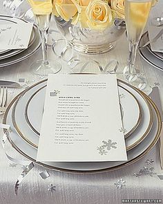 A sprinkling of snowflake confetti on the tables helps set a merry mood. Use craft punches to cut snowflakes from silver paper; mix in coils and snippings of silver curling ribbon.
