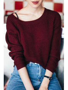 Wine Red Boat Neck Sweater WINE RED: Sweaters | ZAFUL