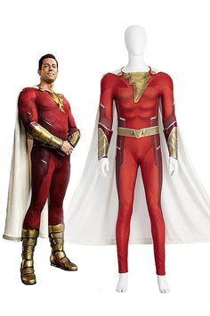 This Shazam! Fury of the Gods Billy Batson Cosplay Costume includes cape, jumpsuit, wrist guards, belt. It is made of roma cloth and PU leather. Well made and screen accurate design. Welcome to buy it with free shipping for your parties, Halloween. contact us via Takerlama@gmail.com Superhero Cosplay, For Your Party, Cosplay Costumes, Pu Leather, Cape Jumpsuit, Wonder Woman, God, Parties, Belt