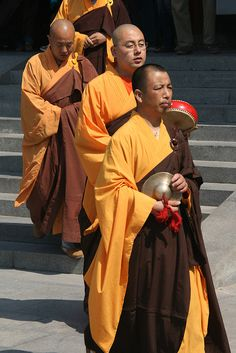 Monks at the Big Goose Pagoda - Xian, China.