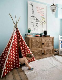 """love the chest. would like to mix up the furniture in boys room a bit so not to """"babyish""""  teepees are cool too :)"""
