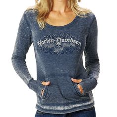 Harley-Davidson® Women's Shirt, Seasoned Long Sleeve Thermal, Denim Blue Color