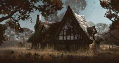 Maleficent concept art by Adam Brockbank (Part 2 of Fantasy House, High Fantasy, Medieval Fantasy, Fantasy World, Fantasy Village, Environment Concept Art, Environment Design, Fantasy Landscape, Landscape Art