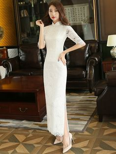 Fresh Heir White Lace Qipao   Cheongsam Dress with Split Cheongsam Wedding 6bf4612a2
