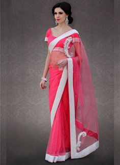 Lovely Hot Pink #Net Saree