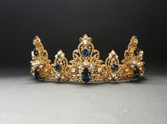 Dark Blue Swarovski Crystals Headbandwedding crown by ZTetyana
