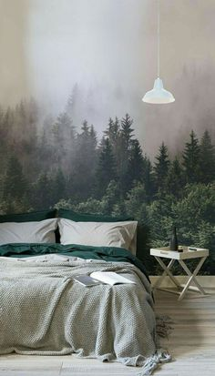 In the forest areas Murals wallpaper – Bedroom Inspirations Grey Green Bedrooms, Bedroom Green, Bedroom Colors, Home Decor Bedroom, Bedroom Furniture, Bedroom Ideas, Headboard Ideas, Wood Headboard, Ikea Bedroom