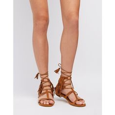 Charlotte Russe Caged Fringe Sandals ($25) ❤ liked on Polyvore featuring shoes, sandals, cognac, caged flat sandals, fringe flat sandals, metallic flat sandals, t strap shoes and tie sandals