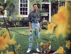 """""""Freddie Mercury, leader singer for Queen, can be seen in this photo at his home Garden Lodge in London. This was taken in the spring of 1991 and thought to be the last known photo of Freddie Mercury. Queen Freddie Mercury, Freddie Mercury Last Photo, Tupac Shakur, Brian May, George Harrison, Jimi Hendrix, Bronchial Pneumonia, Fred Mercury, Bob Marley"""