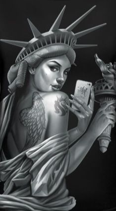 Maybe a guy with the liberty touch and crown and the iPhone. Doing a selfie.