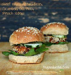 Sweet Potato Adzuki Bean Burger Sliders with Dill Aioli | Vegan Yack Attack