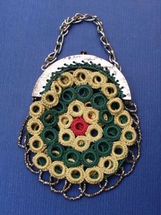 Lovely-miser-039-s-coin-purse-c-19th-century-Regency-Victorian-antique-crochet