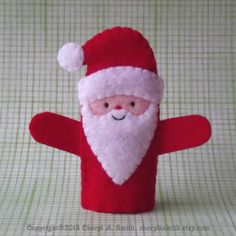 Santa Claus Christmas Finger Puppet - Santa Puppet - Santa Claus Finger Puppet - Holiday Stocking Stuffer Toy
