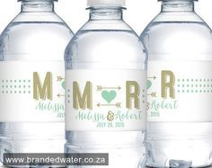 Wedding Water Bottle Labels Waterproof Labels by DesignedByME Personalized Water Bottle Labels, Personalized Wedding Favors, Personalized Labels, Unique Wedding Favors, Unique Weddings, Wedding Ideas, Party Wedding, Waterproof Labels, Wedding Welcome Bags