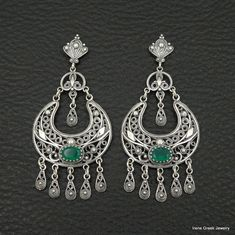 RARE NATURAL GREEN ONYX FILIGREE STYLE 925 STERLING SILVER GREEK ART EARRINGS #IreneGreekJewelry #Chandelier