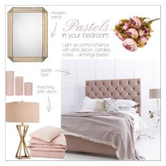 """""""Pastels in our bedroom"""" by taniadeseptembre ❤ liked on Polyvore featuring interior, interiors, interior design, home, home decor, interior decorating, Lexington, Jamie Young, Catalina and bedroom"""