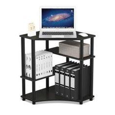 Furinno Turn-N-Tube Espresso/Black Space Saving Corner Desk with Shelves - The Home Depot - Douglas Pemberton Corner Desk Shelf, Small Corner Desk, Computer Desk With Shelves, L Shaped Corner Desk, Desk Shelves, Corner Space, Display Shelves, Shelf Furniture, Brown Furniture
