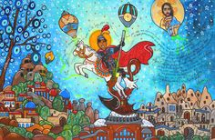 Pintura em tela São Jorge Guerreiro - Andreza Katsani Santa Clara, Painting, Anime, Religious Art, Canvas Art, Art Production, Pictures, Painting Art, Paintings