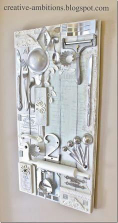 multi media kitchen art, salvage, great use of sentimental kitchen utensils