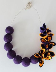 New Felted Balls & Felt Flowers Necklace | eBay: