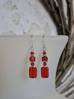 Ruby Red Dangle Earrings with Czech fp Ruby by SmockandStone, $15.00