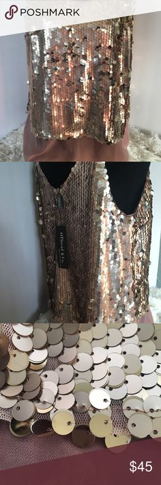 """O' Thread Rose Gold All Around Layered Top This beautiful Rose Gold Layered sequin Top is a perfect match for any occasion!  Measurements: Chest Approximately 19.5"""" Top Shell 14.5"""" Bottom Shell 19"""" O' Thread & Co Tops"""