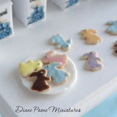 BUNNY Cookies - Individual Loose Cookies - Easter Rabbit Dollhouse Miniature $2.95