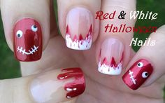 Red & white #halloween #nailart - Bloody #nails / For more easy #naildesigns please visit: https://www.youtube.com/user/LifeWorldWomen