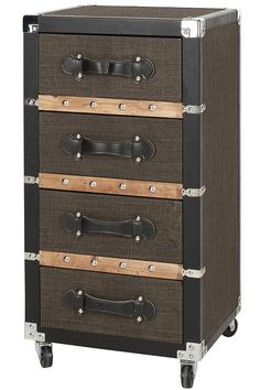 """Size 32""""Hx15.75""""Wx14""""D Langley 4-Drawer Rolling Chest has the clever look of stacked suitcases, making it both attractive and functional. The linen-lined drawers are perfect for storing clothes, jewelry or other important papers and mementos. Ideal for the home office too, this 4-drawer cart can act as a mobile office supply and file cart. Four linen-lined drawers with faux leather handles. Nailhead accents in silver finish. Casters for easy mobility."""