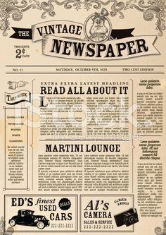 Vintage Newspaper layout design template royalty-free vintage newspaper layout design template stock vector art & more images of advertisement Vintage Newspaper, Newspaper Crafts, Vintage Paper, Wedding Newspaper, Vintage Menu, Images Vintage, Vintage Design, Newsletter Design, Newsletter Templates