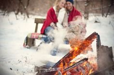 A romantic bonfire in the snow