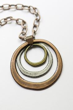 Tri-Metal Circle Necklace -- love it!