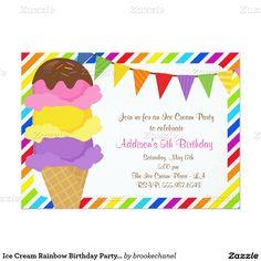 "Ice Cream Rainbow #BirthdayParty Invitation 5"" X 7"" #InvitationCard"