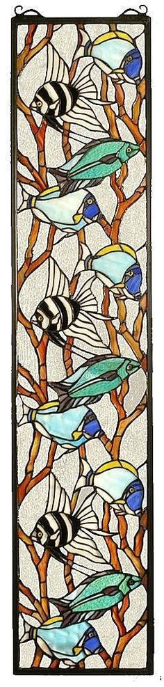 Tropical Fish Rectangular Stained Glass Window | 9x42 inches #StainedGlassFish