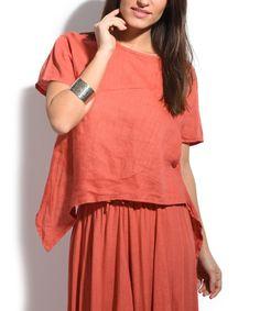 Rust Asymmetrical-Hem Linen Top