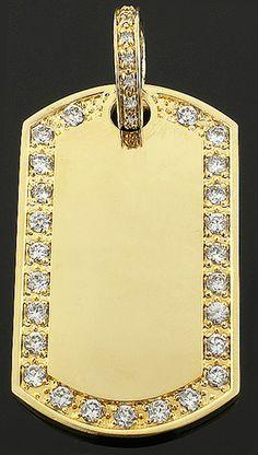 Custom 10k yellow gold diamond dj pendant for men with initials gold dog tag pendant aloadofball Choice Image
