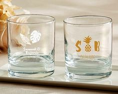Kate Aspen Personalized Pineapples & Palms Designs 9 oz. Rocks Glasses | Personalized Gifts and Party Favors