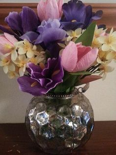 SILK FLORAL ARRANGEMENT - SPRING -  PINK TULIPS, NARCISSUS, IRIS www.angelfloraldesigns.co.uk