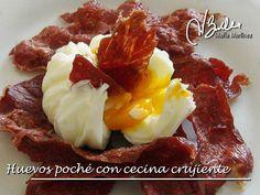 Una receta que tenéis que probar: Huevos poché con cecina crujiente (Dieta Dukan, Ataque). Receta y PDF para guardar en mi blog.