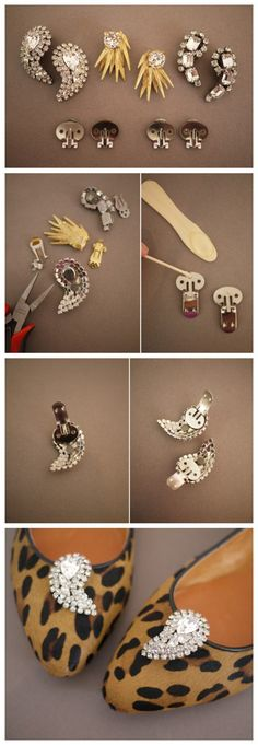 DIY Shoe Clip Ideas are the simple and stylish clips that you can made by your hand easily for your footwear customization. Shoe Crafts, Jewelry Crafts, Metal Jewelry, Custom Jewelry, Bedazzled Shoes, Shoe Makeover, Diy Clothes And Shoes, Painted Canvas Shoes, Decorated Shoes