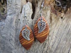 Wooden Earrings – Earrings  olive wood olives leaf leaves – a unique product by Alentejoazul on DaWanda