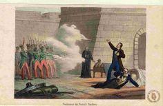 La fucilazione dei fratelli Bandiera in Calabria nel 1844 in un acquerello del XIX secolo.