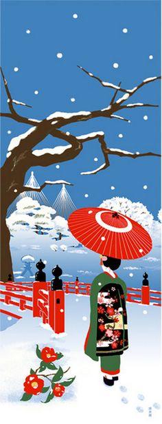 Japanese Tenugui Fabric, Geisha, Kimono, Umbrella, Camellia, Snow, Winter, Blue Fabric, Hand Dyed Fabric, Wall Art Hanging, Gift Idea, JapanLovelyCrafts